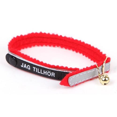 *Katthalsband reflex röd filt JT