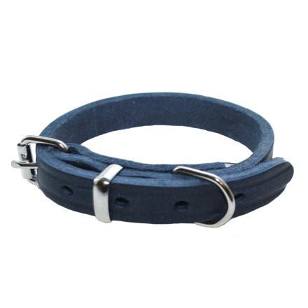 Halsband råläder 12/30, blå