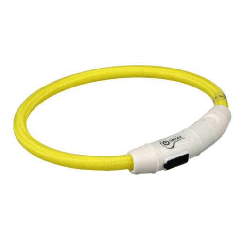 Flash light ring USB, L-XL: 65 cm/ø 7 mm, gul