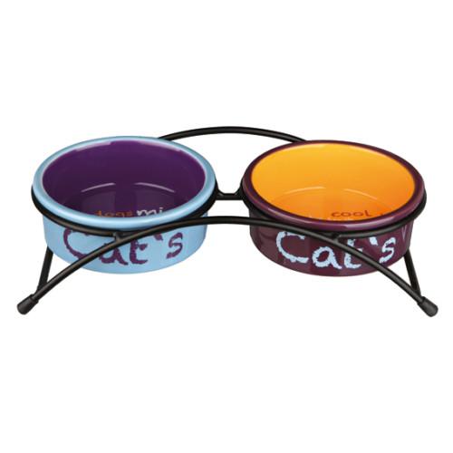 Matbar m Keramikskålar Lj.blå/Orange/Lil