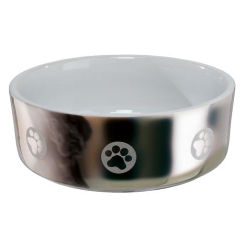 Keramikskål Hund 0,3L 12 cm silver/vit