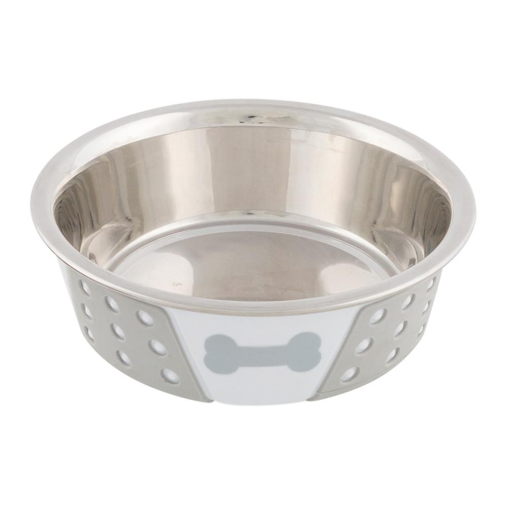Matskål rostfri med silikon 0.4 l/ø 14 cm vit/grå