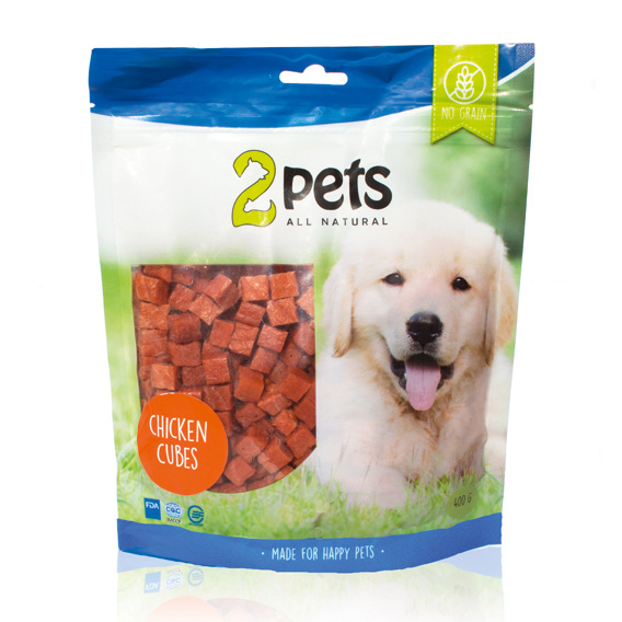 X 2pets Dogsnack Chicken Cubes 400g