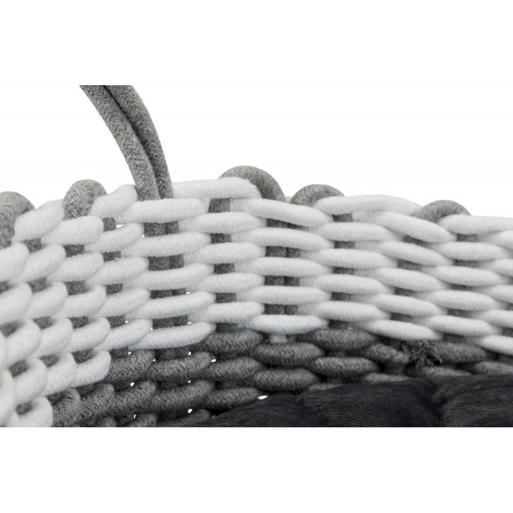 Nabou korg, vävd, ø 45 cm, grå/vit