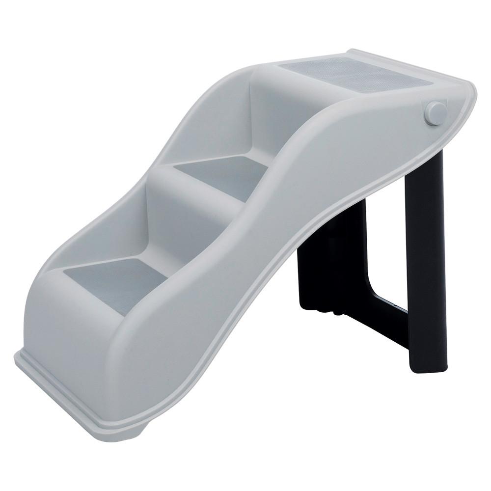Trappa, hopfällbar, plast 34 × 39 × 54 cm, ljusgrå
