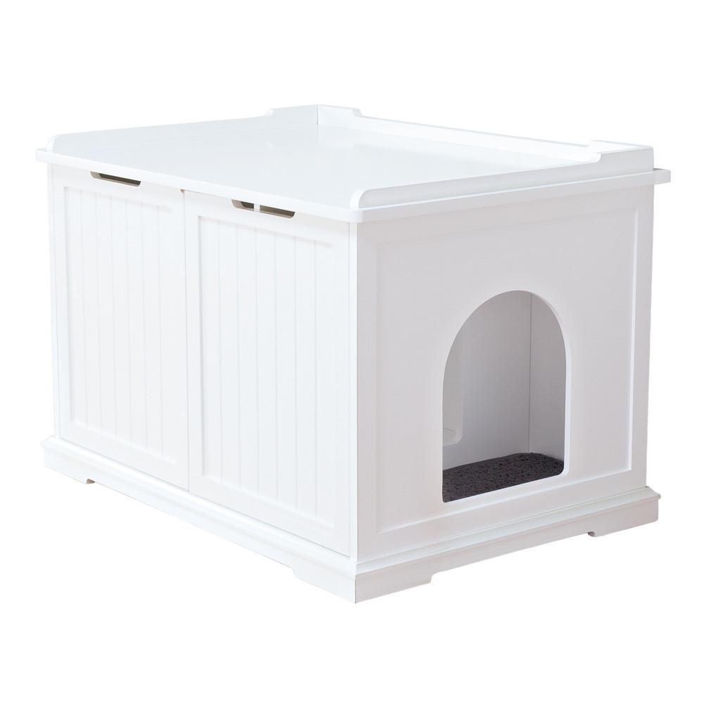 Toaletthus för kattlåda XL, 75 × 51 × 53 cm, vit