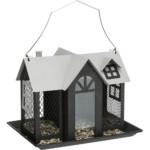 Vildfågelmatare Villa, metall, 2,000 ml/26×19×19 cm, svart