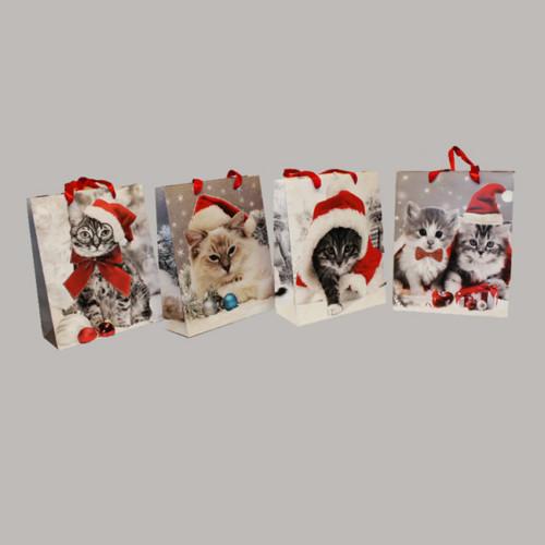 Presentpåse 18x8x24 cm julkatter 4 sorter