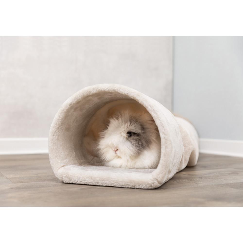 Plyschtunnel för kanin/marsvin 27x21x80 cm beige