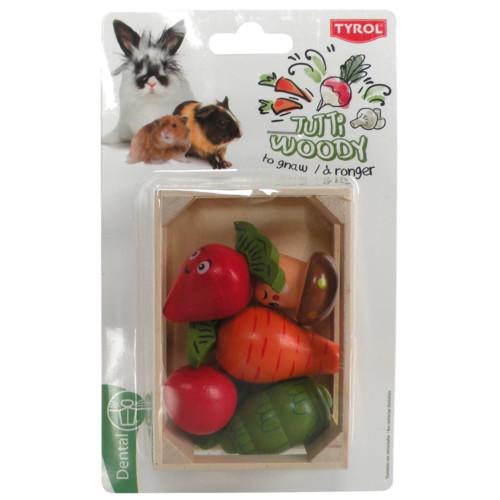 Smådjursgrönsaker i trä med låda