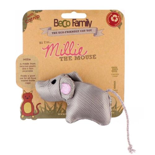 Kattleksak Millie the Mouse med Catnip Beco 10 cm