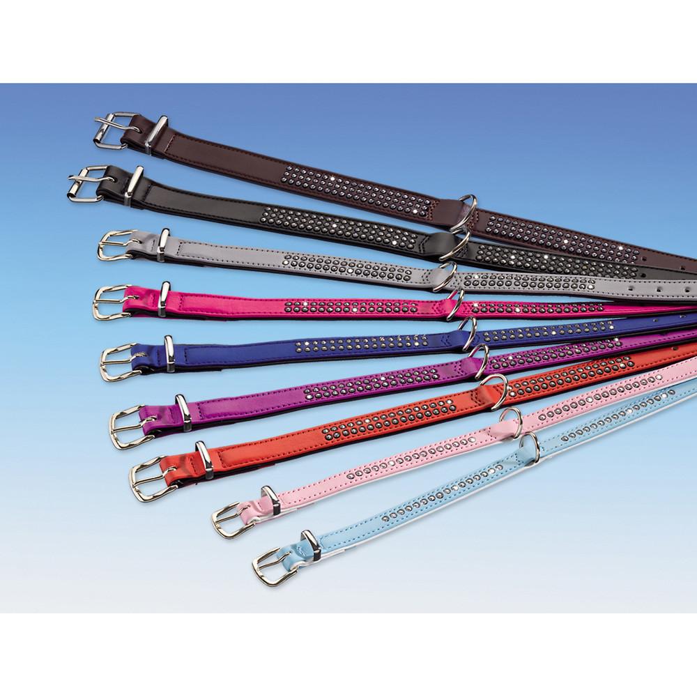 Halsband rosa 32cm strass konstläder